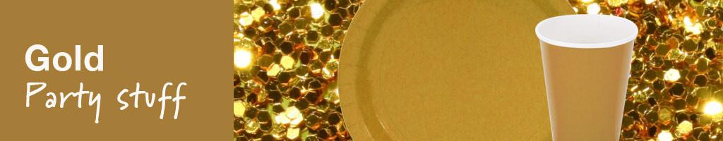 versiering gold party en feestartikelen in het goud