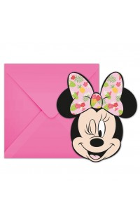 Minnie Mouse uitnodiging, 6 st
