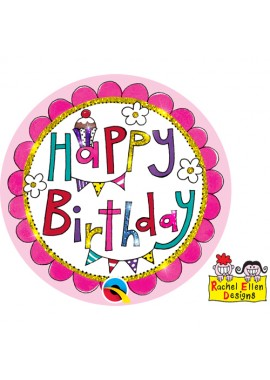 Button Happy Birthday roze