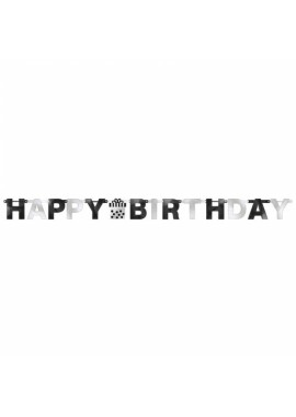 Letterslinger Happy Birthday zwart zilver.